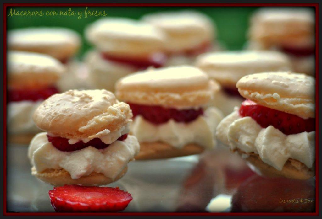Macarons con nata y fresas 02