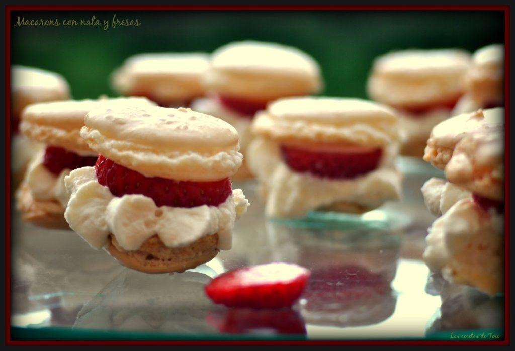 macarons con nata y fresas 02a