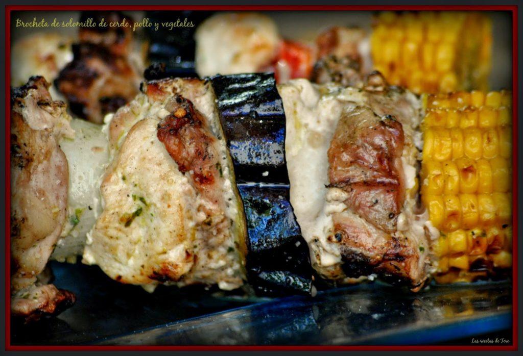 Brocheta de solomillo de cerdo, pollo y vegetales 06