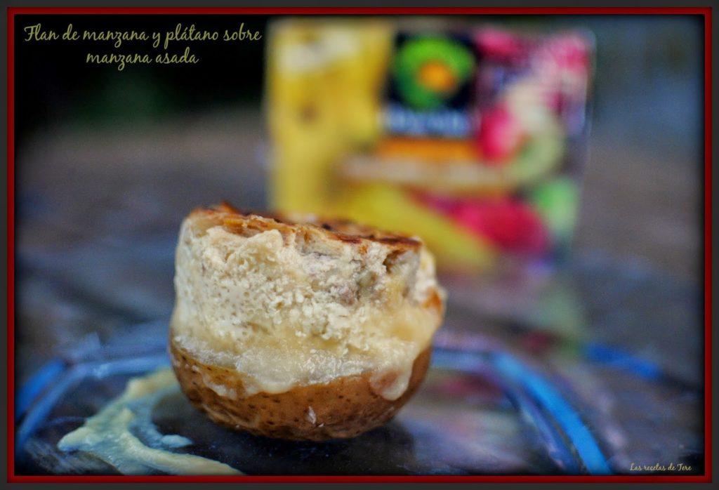 Flan de manzana y plátano sobre manzana asada 01