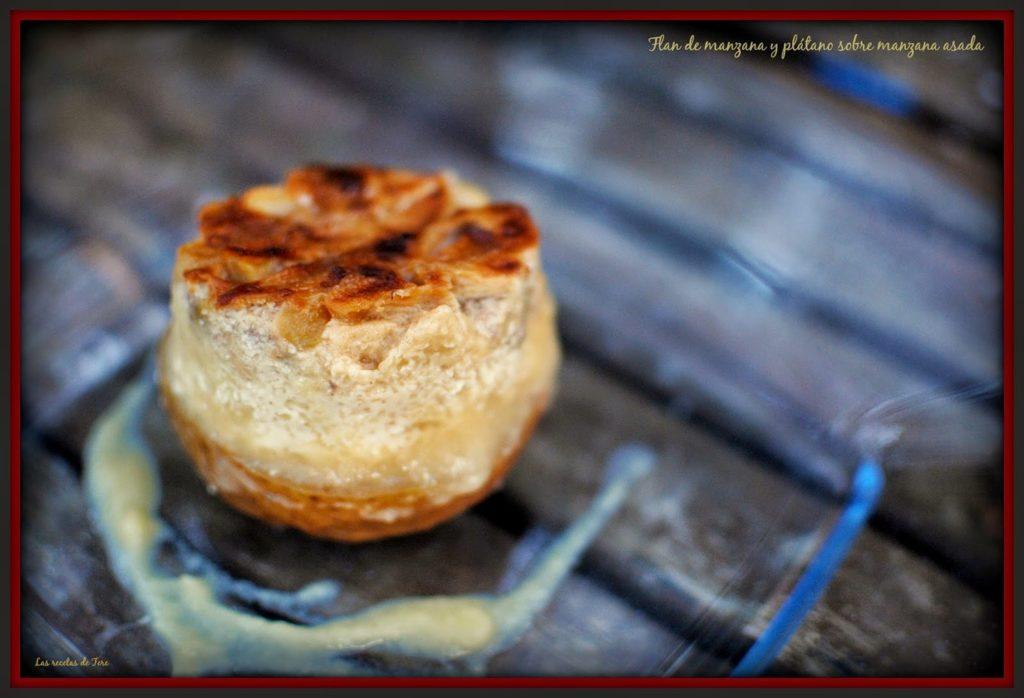 Flan de manzana y plátano sobre manzana asada 04