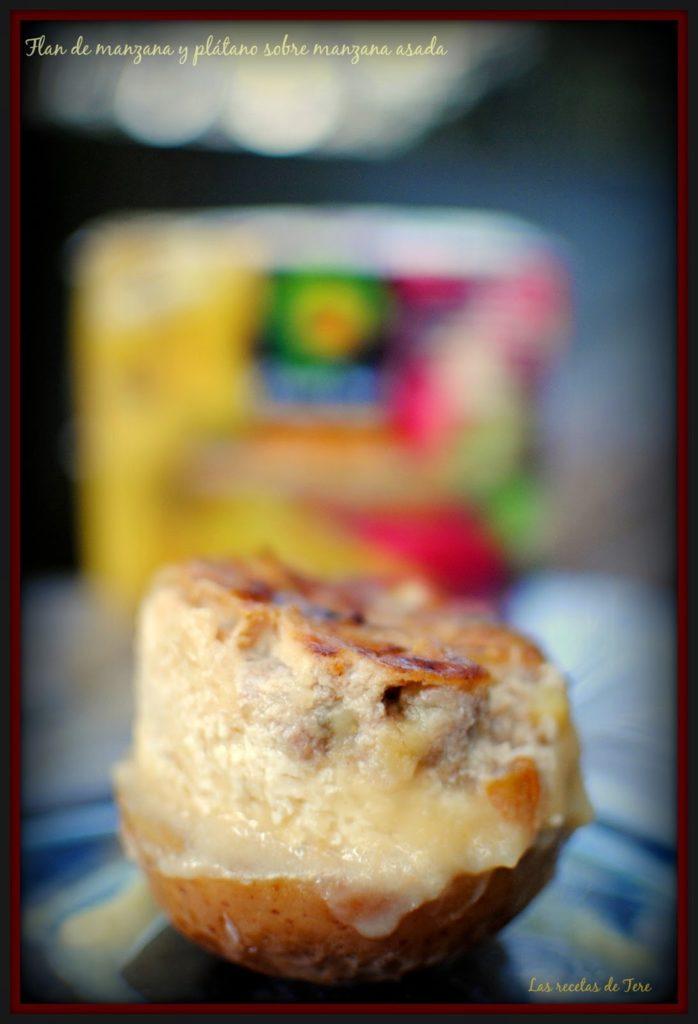 Flan de manzana y plátano sobre manzana asada 05