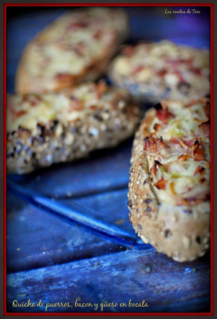 Quiche de puerros, bacon y queso en bocata 03