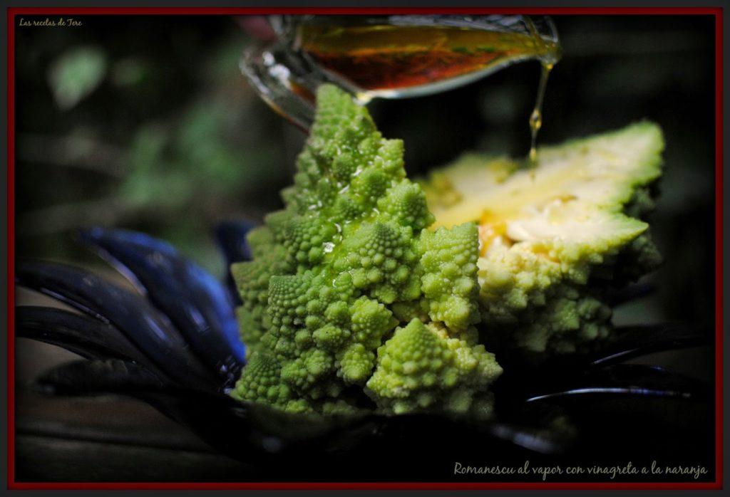 Romanescu al vapor con vinagreta a la naranja tererecetas 06