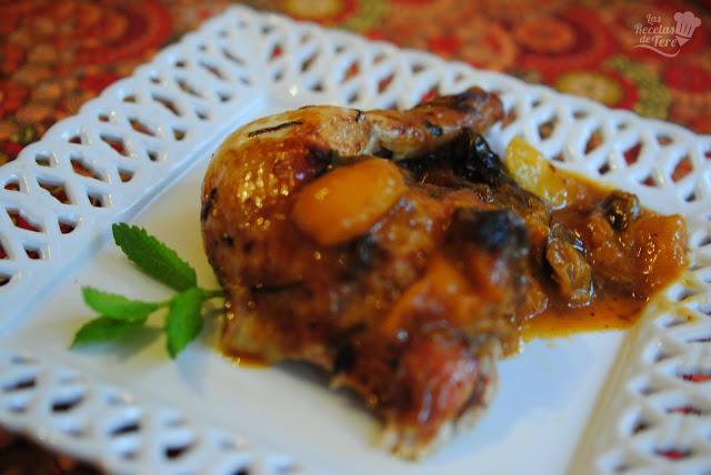 Pollo al horno con confitura de albaricoques y ciruelas pasas tererecetas 04