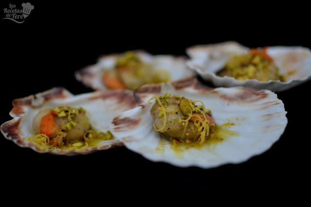 Vieiras a la plancha con aceite de pistachos tererecetas 01