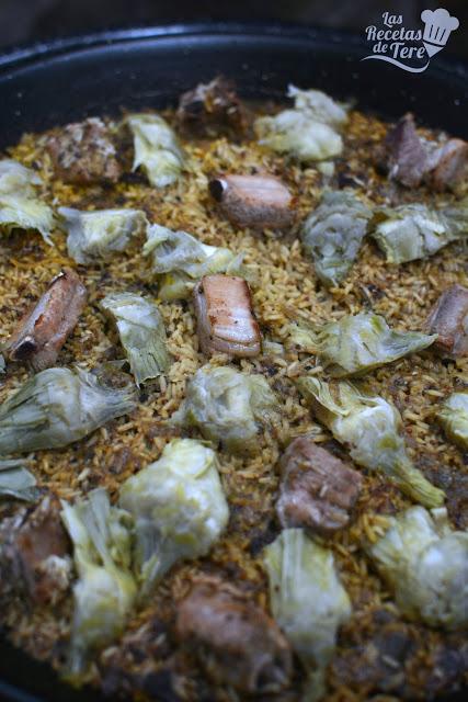 receta de arroz con costilla de cerdo y alcachofas tererecetas 02