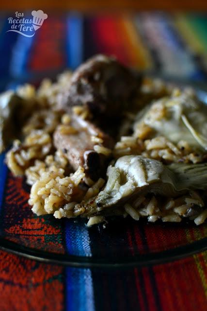 receta de arroz con costilla de cerdo y alcachofas tererecetas 05