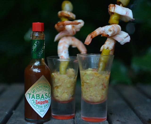 Recetas de tapa de langostinos, rejos, guindilla, guacamole y Tabasco Chipotle tererecetas 01