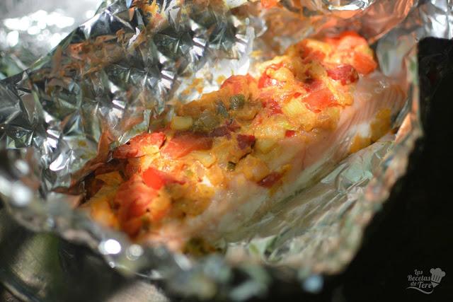 receta de papillotte de salmon y vegetales preparado al vapor tererecetas 03