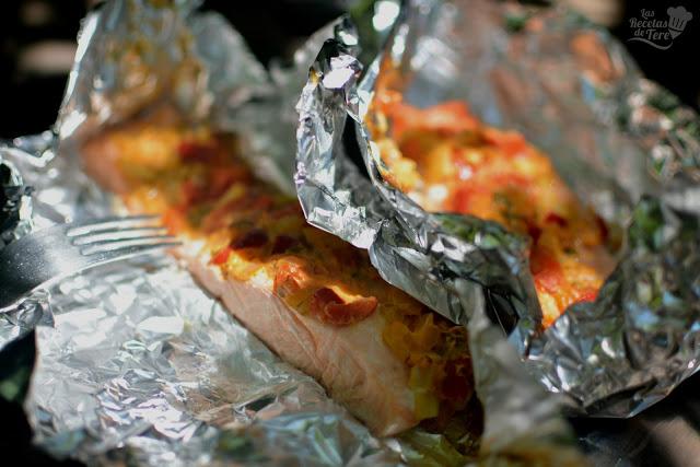 receta de papillotte de salmon y vegetales preparado al vapor tererecetas 01