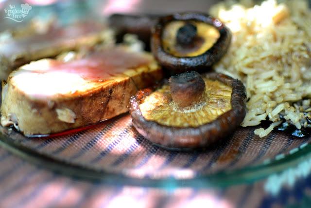 receta fácil tataki de atún rojo con arroz y setas a la plancha 03