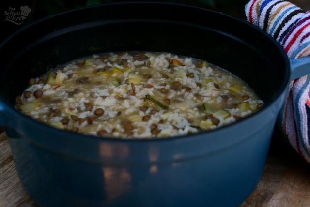 Menestra de arroz, calabacines y lentejas 03