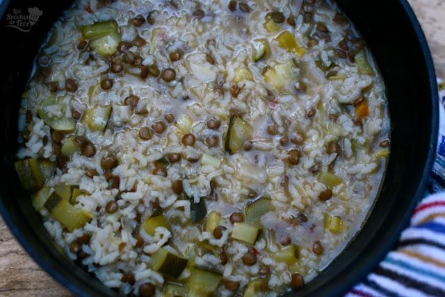 Menestra de arroz, calabacines y lentejas 01