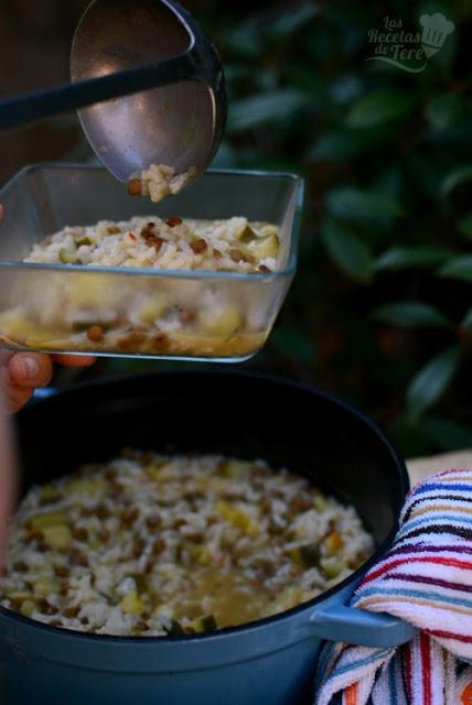 Menestra de arroz, calabacines y lentejas 02
