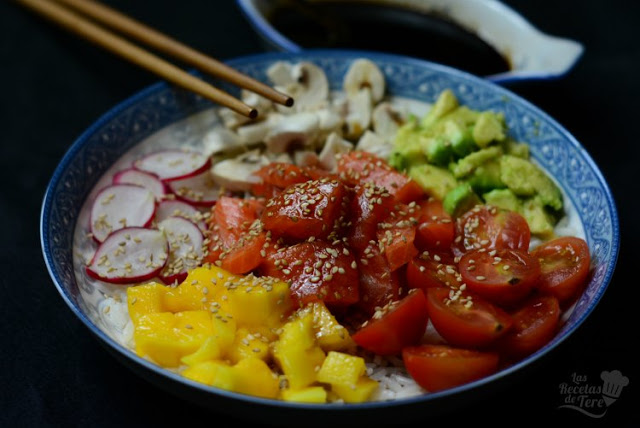 Poke con trucha, mango y vegetales tererecetas 02