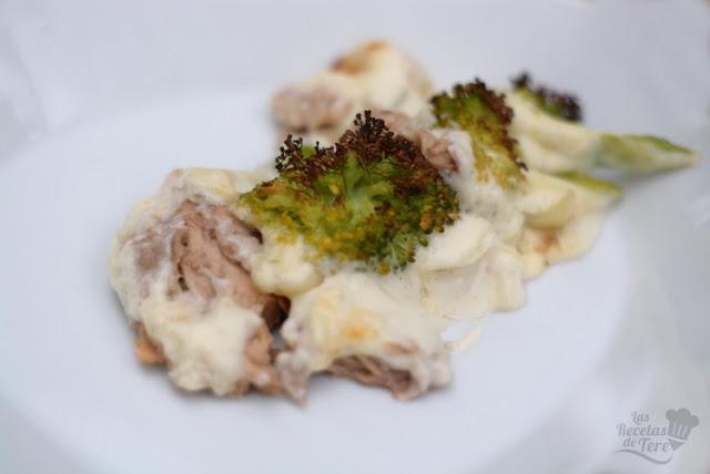 Brócolis con bachamel y atún al horno tererecetas 05