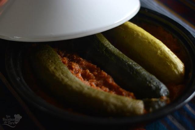 Calabacines rellenos de arroz y carne picada en olla tajine tererecetas 01